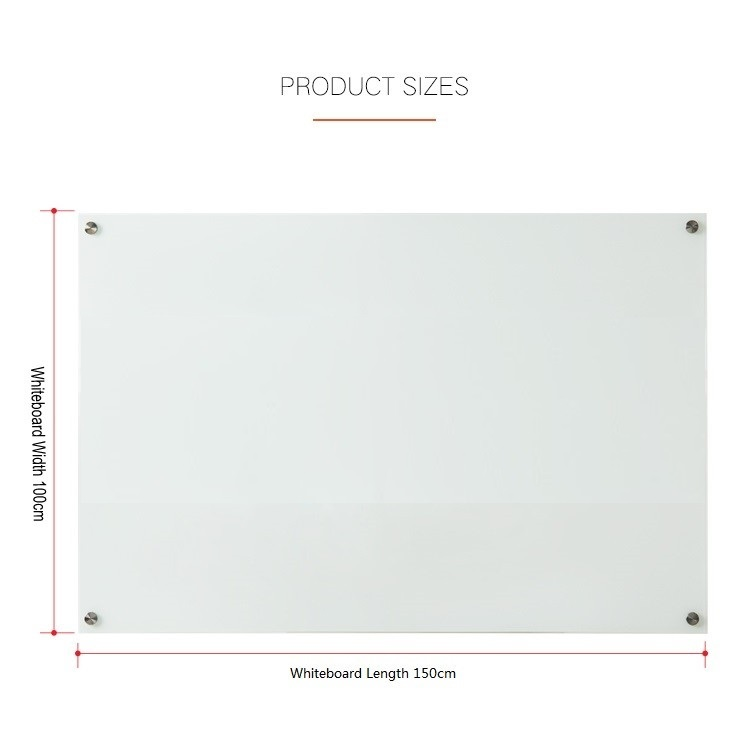 Tempered Glass Whiteboard 100 x 150cm-2
